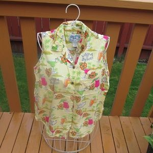 Big Dogs Life's A Beach Sleeveless Blouse Large